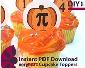 DIY Pumpkin Pi Cupcake Toppers Digital Download