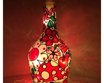 Hand Painted Tiffany Mosaic Style Lamp.  Wine Bottle Light.