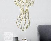 Geometric Deer Head Decal Geometric Animal Stickers, Deer Head Removable Vinyl