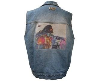 Vintage 80's Denim Vest with Native American Photo Size Medium