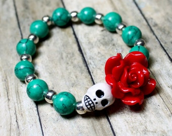 Stretch Stackable Bracelet Day of the Dead Green Turquoise Red Flower Jewelry Sugar Skull