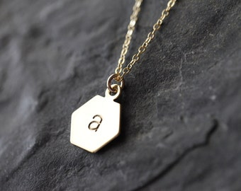 Gold Hexagon Initial Necklace, Gold Monogram Necklace, Personalized Initial Charm Necklace, Custom Initial 14K Gold