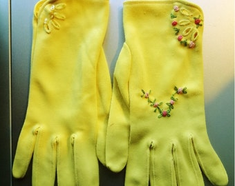 Vintage Gloves Embellished with Hand Embroidery Yellow