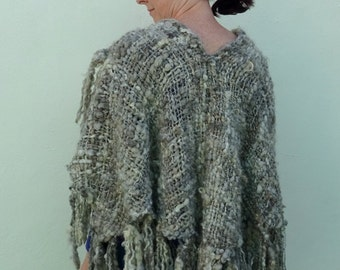 Hand Woven Cape with Fringe, Handspun Yarn, Lincoln Wool, Natural Colored, Gray, White, Black, Handmade, Outerwear Wrap, One of a Kind