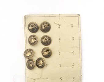 4 Vintage Antique Gold Metal Buttons, French Coat of Arms Buttons