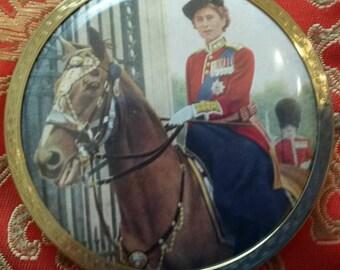 Stratton Powder Compact; 'Scone/Regal'; Featuring Queen Elizabeth II Riding on a Horse Circa 1950's-1970's-  DR198