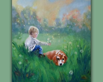 Oil Painting, BEST FRIENDS, Original Oil Painting, child, kid, dog, grass, wishes, dandelion, landscape, clouds, signed by the artist
