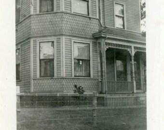 "Vintage Photo ""Haunted Windows"" House Home Decor Snapshot Photo Old Antique Black & White Photograph Found Paper Ephemera Vernacular - 146"