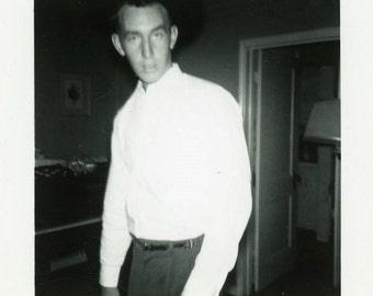 "Vintage Photo ""The Boyfriend"" Guy Looking at Camera Snapshot Old Antique Photo Black & White Photograph Found Paper Ephemera Vernacular - 46"