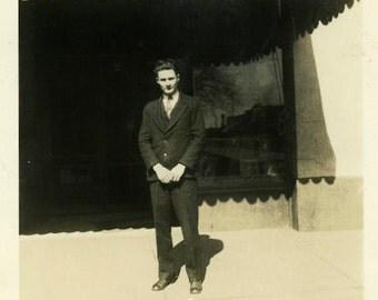 "Vintage Photo ""The Studio Owner"" Store Snapshot Photo Old Antique Photo Black & White Photograph Found Photo Paper Ephemera Vernacular - 55"