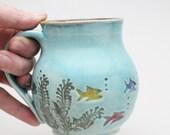 Fish Mug, Wheel Thrown Mug, Coffee Mug, Handmade Pottery Mug, Tropical Fish, MADE PER ORDER