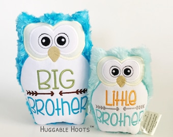Personalized Stuffed Owl Brother Set - Big and Little Bro - Plush Owl - Stuff Animal - Sibling Set - Owl Pillow - New Baby Gift - Toy Owls