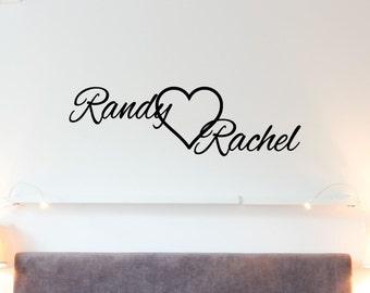 Custom Names and Heart Vinyl Decal - Vinyl Wall Art Decal, Romantic Decor, Bedroom Decor, Wedding Decor, Heart Wall Decal, 32x9.6