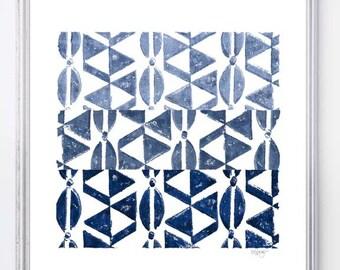 Indigo Print, Tribal Print, Tribal Woodblock Print 8x10, Geometric Art, African Decor, Navy Blue Art, Indigo Blue Art, Blue Tribal Print