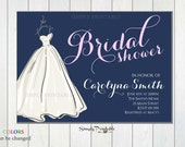 Modern Wedding Shower Invite, Wedding Dress Invitation, Bride Invitation, Bridal Shower, Navy Pink Invitation