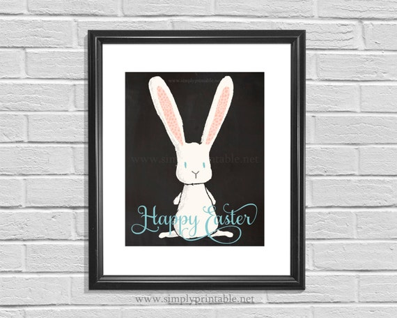 Happy Easter Bunny Wall Print, Easter Decor, 8x10 Wall Sign, Spring Decor, Subway Art, Digital Printable, Instant Download, Easter Words