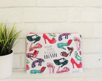 Women's zipper bag makeup bag high heel shoes