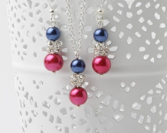 Fuchsia and navy Bridesmaid Jewelry Set Navy blue and Fuchsia Pink earrings and necklace set Magenta wedding jewelry set, bridesmaid gift