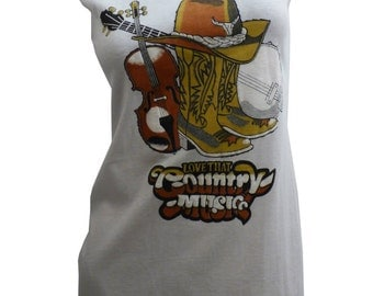 """Cute Cowgirl """"Love That Country Music"""" Reshaped Western T-Shirt / Dress Sz. S / M"""