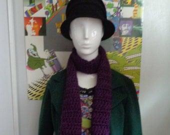 Dark Purple Handmade Crochet Scarf by Pepperland