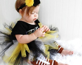 Steelers Baby - Iowa Baby Tutu in Black and Gold with Flower Headband - Steelers Tutu Set - New Orleans Tutu - Mizzou Baby Tutu - UCF Baby
