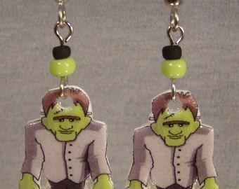 Frankenstein Cartoon Art print Dangle Earrings - Halloween Jewelry