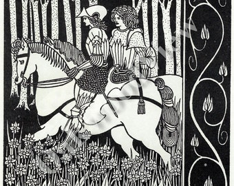 Sir Palomides Sorrow Print #2 by Aubrey Beardsley, King Arthur, Vintage Art Nouveau 8x11 2-Sided BW Bookplate Art, FREE SHIPPING