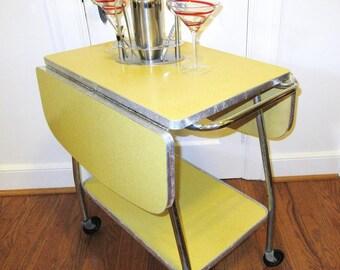 Mid Century Bar Cart, Serving Cart, Buffet Table, Yellow Kitchen Island Cart, 2 Tier Stand