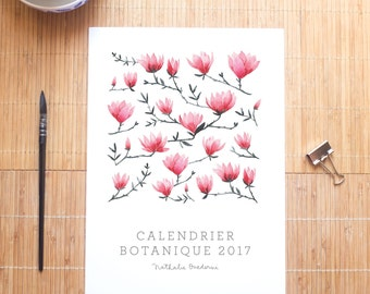 30% SALE --- 2017 Botanical & Floral Watercolor Calendar, wall calendar ideal as a gift for her