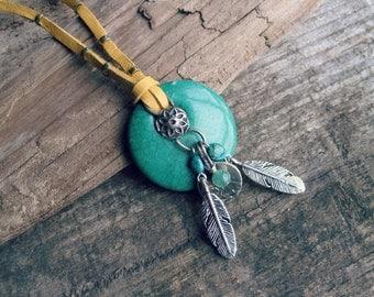 Turquoise Gemstone Pendant Necklace // Feather Necklace, Leather Necklace, Stone Pendant, Southwestern Jewelry, Long Boho Tribal Necklace