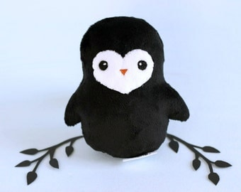 Penguin Plushie. Stuffed Penguin, Minky Plush, Small Animal Doll, Penguin Softie, Winter Bird Plush, Gift for Animal Lovers, Designer Toy