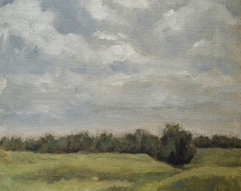 Pleinair, Cloudy Day Field, landscape oil painting