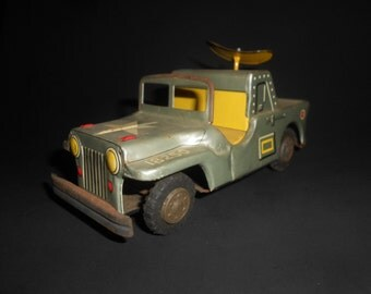 """Tin Army Jeep With Radar Military """"Atomic Era"""" LineMar Japanese Tin Toy c1950's Classic 18250 Model """"General's Ride"""""""