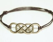 Infinity Bracelet or Anklet in Antique Brass, Double Infinity Bracelet, Bronze Bracelet, Eternity, Karma, Man Gift, Unisex Bracelet, BFF