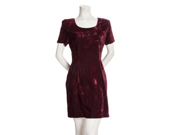 Burgundy crushed velvet dress -- 80s/90s goth minidress -- vintage velvet grunge mini dress -- size small / medium