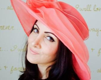 "Coral Sun Hat - ""Belle"" Coral Crystal Organza Hat w Flower Embellishment"