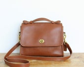 Vintage Coach Bag // Coach Court Bag // Leather Messenger Purse Handbag British Tan Pre 9870