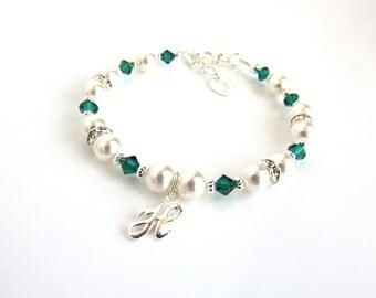 May Birthstone Bracelet, Personalized Bracelet for Girls, Initial Bracelet, Kids Personalized Gift, Kids Jewelry, Girls Birthstone Bracelet