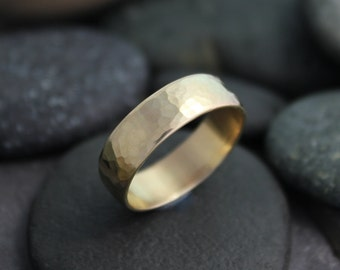 Hammered 14k Yellow Gold Band, 6mm Hammered Band, Textured Wedding Band, Handmade Solid Gold Band, Ready to Ship Gold Ring