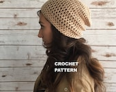 Classic Beanie Pattern, Crochet Hat Pattern, The Philly Slouchy Hat,  PDF Download