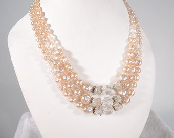 Vintage 1950s Faux Pearl Necklace Crystal Wedding Bridal Fashions