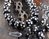 Black And White Dots African Batik Bone Rondelle Beads, 23x15mm, 10 beads, Large Hole Tribal, Bold Bohemian Jewelry Making Supplies