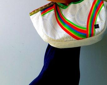 "Kimono Obi  Hobo Style Tote ""White Rainbow"" (L)/ Big size tote / mom bag"