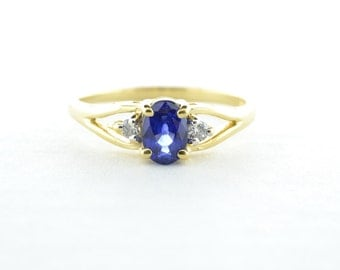 14K Yellow Gold Synthetic Blue Sapphire and Diamond Ring - Size 6.5