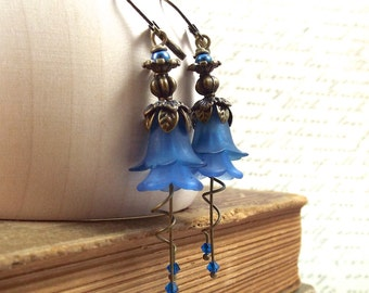 Montana Blue Bronze Tulip Flower Earrings - Secret Garden