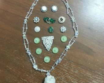 VINTAGE 15 Piece Green Buttons AB Crystals LOT Rhinestone Arts Crafts Necklace Charm Bracelet Destash Pendant Assemblage Upcycle Repurpse