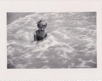 Surf Bathing- 1950s Vintage Photograph- Girl In Swimsuit- Beach Swimming- 50s Snapshot- Found Photo- Vernacular- Paper Ephemera
