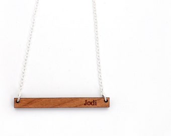Nameplate Bar Necklaces, Laser Engraved Wooden Custom Personalized Name Bar Necklaces For Her For Him