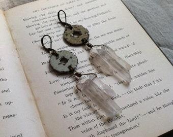SALE Handmade OOAK Earrings Statement Hippie Boho Apocalyptic Waterworld Outsiders Quartz Crystal Dangle Rustic
