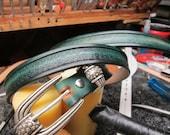 Medieval leather belt, Jeans belt, dress belt, Aqua blue leather, Ladies belt, Men's belt, Golf belt, designer belt